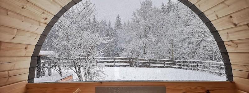 bergquartier herzhausen ferienhaus oberharz berge in der natur mit kindern gruppe grossfamilie winterurlaub norddeutschlands hoechstes gebirge fasssauna innenansicht