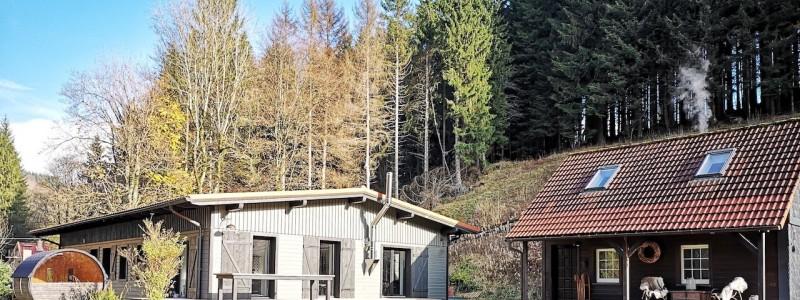 bergquartier herzhausen ferienhaus oberharz berge in der natur mit kindern aussenansicht beide haeuser haupthaus nebenhaus baerenhuette