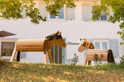 kammer illerbeuren allgaeu nachhaltiger urlaub mit kind in deutschland in bayern mit dem rad auf dem land im gruenen holzpferde heimisches holz eigener wald