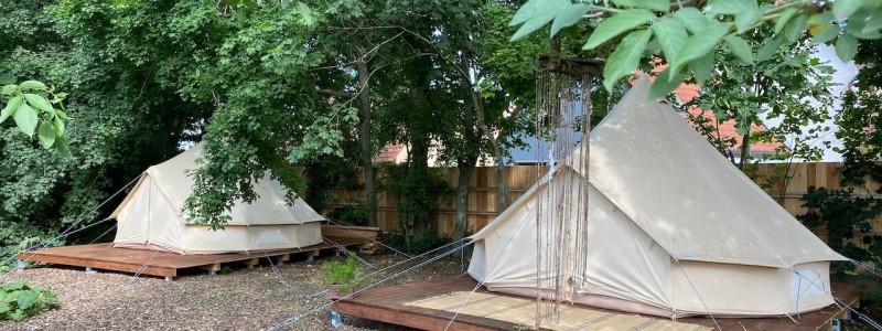 steigerwald franken into the green eco resort glamping zelte yoga retreat urlaub in der natur biologischer gemueseanbau tiere nachhaltiger tourismus zelte unter der kastanie